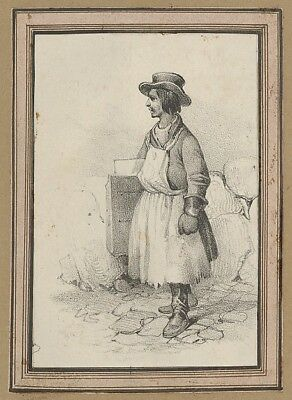 """Victor Adam:Man wearing an apron and a hat mid–19th century-16x12""""(A3) Poster"""