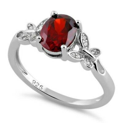 Melchior Jewellery Sterling Silver Double Butterfly Garnet Center Stone CZ Ring