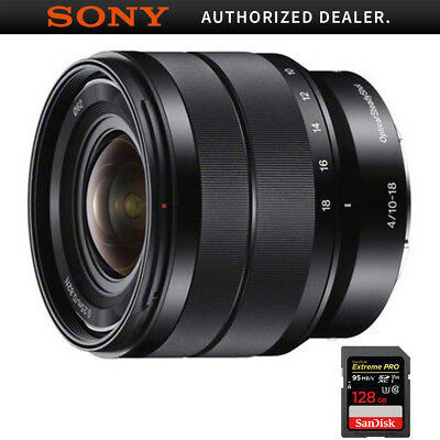 Sony 10-18mm f/4 Wide-Angle Zoom E-Mount Lens + 128GB Memory Card