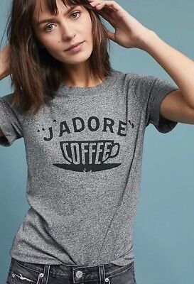 9b14860e9 NWT Anthropologie Sol Angeles J'Adore Coffee Graphic Tee Shirt Gray Sm Sold  Out!