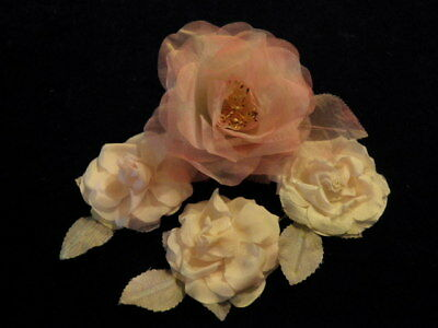 """Vintage Millinery Flower Collection 3"""" -4"""" Pink Rose  for Hat Hair Wedding H2198"""