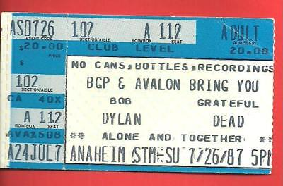 BOB DYLAN & GRATEFUL DEAD Ticket Stub Anaheim Stadium 7/26/1987 Jerry Garcia