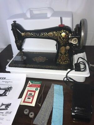 SERVICED Vtg Antique Singer 66 Red-Eye Sewing Machine Heavy Duty Ornate Electric