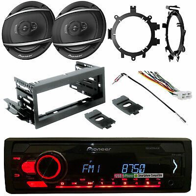 "Pioneer CD DIN Car Radio + Kit, Harness,2x 6.5"" 2-Way Speaker, Brackets, Adapter"