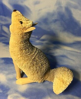 "Rare Adorable 6"" Brushart Buri Bristle & Wood Howling Wolf Coyote Dog Figurine"