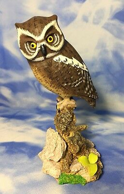 """Rare Beautiful 8"""" Vintage Painted Resin Owl Bird Figurine Perched on Branch EVC"""