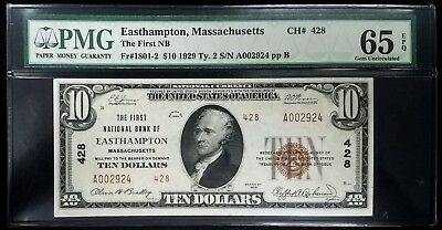 1929 $10.00 Type 2 National Currency, The First National Bank of Easthampton, MA