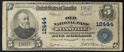 Series 1902 $5.00 Nat'l Currency from The Old National Bank in Evansville, IN!