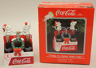 """Things Go Better With Coke"" Coca Cola Christmas Ornament, mini six pack"