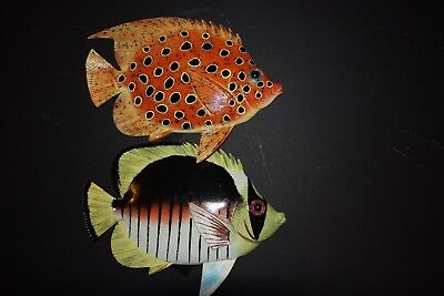 (2) 12 Inch Realistic Tropical Fish Decor, Tropical Fish Wall Hanging Art,f46,48