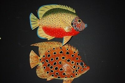 (2) 12 Inch Realistic Tropical Fish Decor, Tropical Fish Wall Hanging Art,f48,49