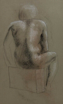 David A. Weeks - Mid 20th Century Charcoal Drawing, Seated Woman