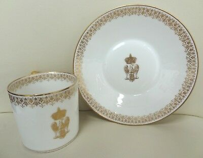 19th Century Imperial Sevres Cup & Saucer with fine Gilt Eagle Emblem
