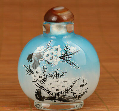 Rare chinese old Glass Hand painting Orchid Big Snuff Bottle noble gift