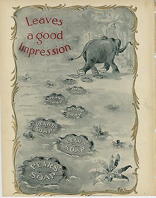 1897 Pear's Soap Ad Leaves a Good Impression Elephant Footprints Cosmetics