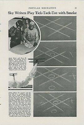 1940 Magazine Article Sky Writers Playing Tic Tac Toe Skywriters Writing Planes