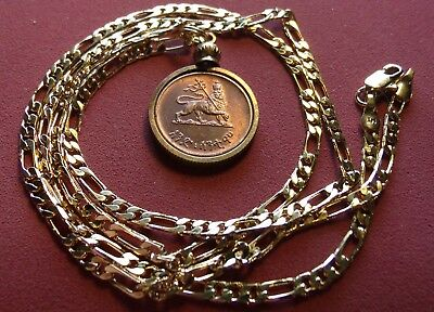 """""""Lion of Judah"""" Haile Sellasie Coin Pendant w/24"""" 18k Gold Filled 3 & 2  Chain"""