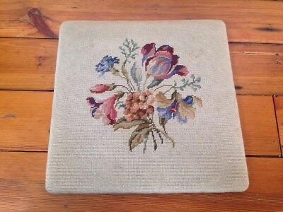Antique Vtg Needlepoint Wool Crewel Floral Flowers Wood Chair Seat Cover 16x16