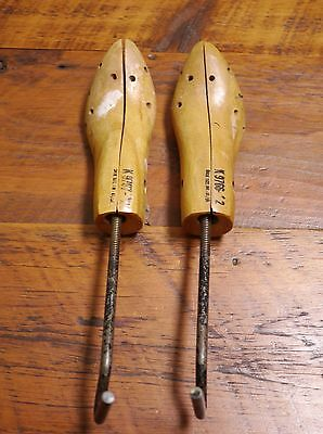 Pair Vintage Antique 30s Rustic Industrial Solid Maple Steel Shoe Shapers Trees