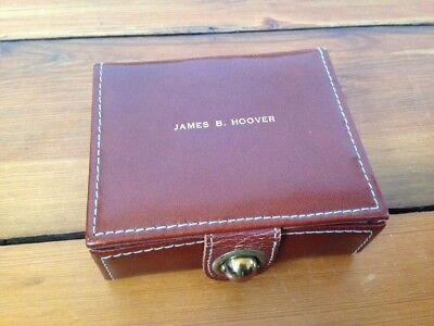 Vtg Dunhill Small Brown Leather Covered Box Humidor James B Hoover 4.5x3.75