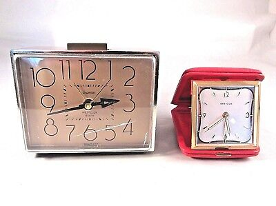 Two Vintage Clocks Westclox Dialite Alarm Clock and Westclox Red Folding Travel