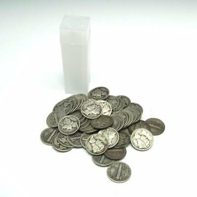 (50) Silver Mercury Dime Roll - $5 Face – 90% Junk Silver US Coin Lot w/ Tube