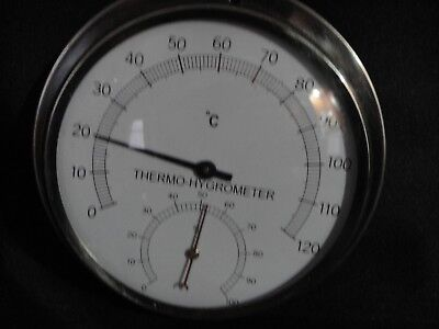 Thermometer / Hygrometer Stainless Steel  0-120 C