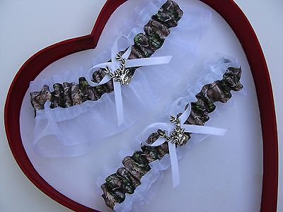 NEW Mossy Oak Camouflage Camo White Wedding Garter Prom GetTheGoodStuff Deer