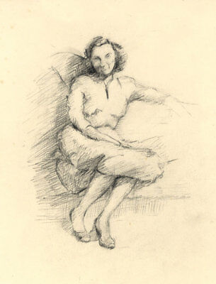 Geoffrey Richard Mortimer - Mid 20th Century Charcoal Drawing, Woman on a Sofa