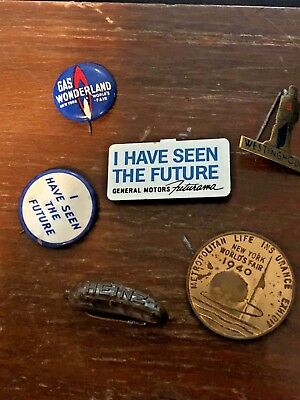 1940 NY WORLD'S FAIR PIN BUTTON LOT: Two GM, Heinz, Gas, Met Life, Westinghouse