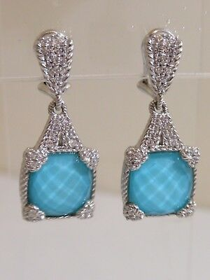6d9c7e56a JUDITH RIPKA STERLING Turquoise Doublet Clip On Earrings New ...