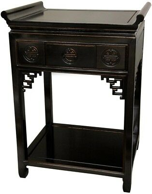 Tall Altar Black End Table Nightstand Drawer Open Shelf Living Room