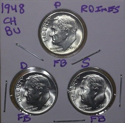 1948 P D S All Full Bands!!! Roosevelt Dime Ch Bu Set Key Dates Gy4859