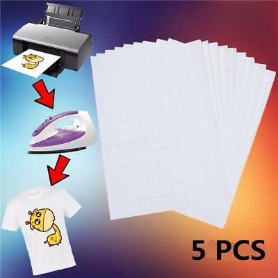 5pcs/Set T Shirt A4 Transfer Paper Iron On Heat Press Light Fabrics Inkjet Paper