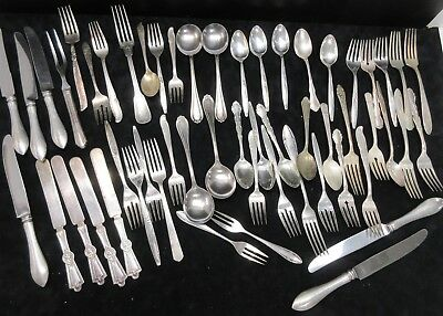 Lot Of (61) Various Vintage/Antique Silver-Plate Utensils