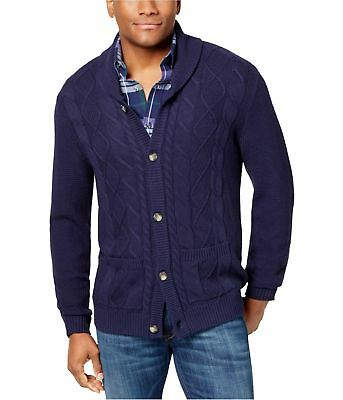 Club Room Mens Cable Knit Cardigan Sweater