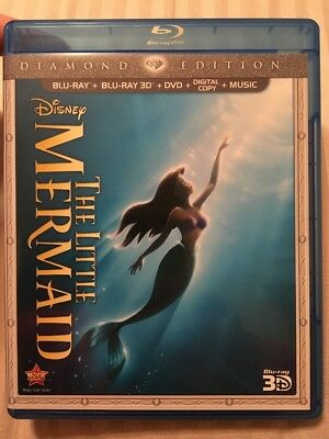 The Little Mermaid (Blu-ray/3D/DVD, 2013, 3 Disc Set, Diamond Edition) Like New!