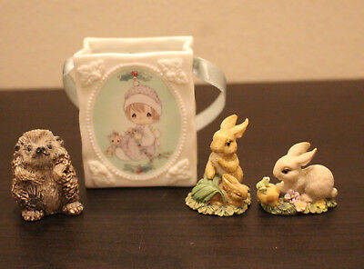 Lot of 4 Ceramic Figures Precious Moments Meowie Christmas Russ Berrie Rabbit