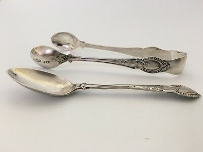 1902 Sterling Silver Sugar Tongs and Spoon - Sheffield - William Gallimore & Son