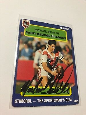 1990 Stimorol Signed Rugby League Card - Micael Beattie - St George Dragons