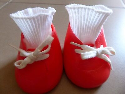MY CHILD DOLL  RED OXFORD LACE UP SHOES + SOCKS 1980s   Good Vintage Condition