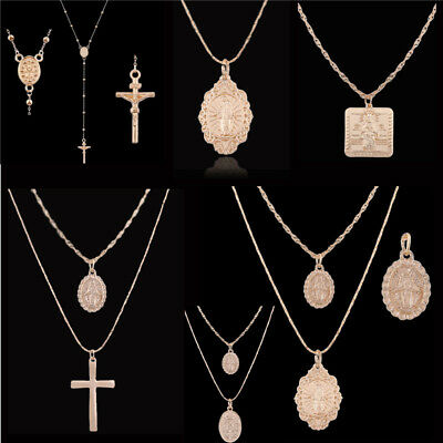 Men Women Catholic Religious Virgin Mary Gold Plated Pendant Necklace Jewelry