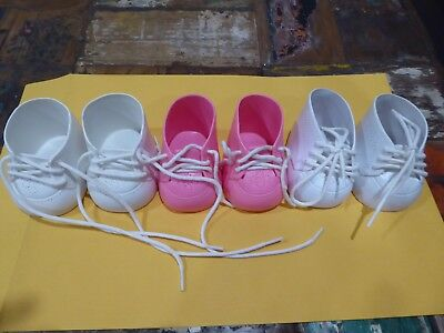 3 PAIRS MY CHILD DOLL  CABBAGE PATCH DOLLS SHOES 1980s   Good Vintage Condition