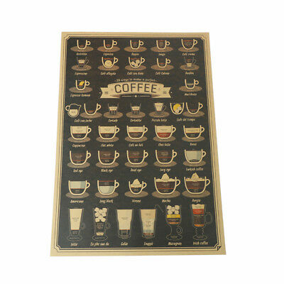 coffee cup bar kitchen drawing poster vintage poster retro wall sticker decor HC