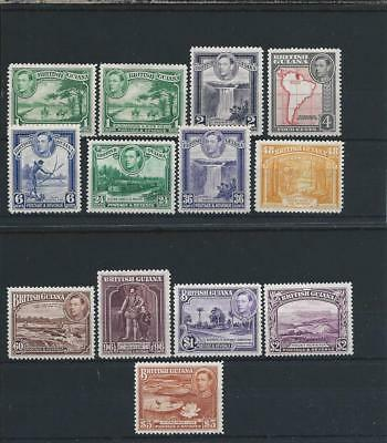 British Guiana 1938-52 Set With Shades Mm Sg 308/319 Cat ~£130