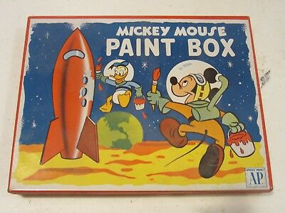 Mickey Mouse and Donald Duck Paint Box #1470 Vintage Litho 1950