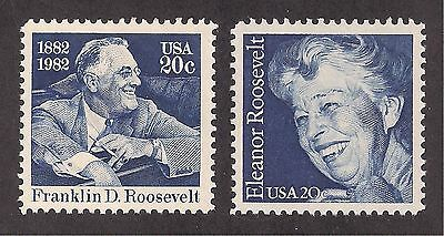Franklin & Eleanor Roosevelt - Fdr - Set Of 2 U.s. Stamps - Mint Condition