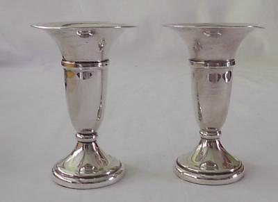 Matching Pair of Solid Silver Posy Vases Dates 1977 by Broadway & CO