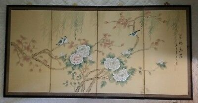 Vintage LARGE Asian 4 Panel Folding Silk Screen Hand Painted Signed Stamped