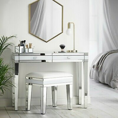 Beautify White Mirrored Furniture Dressing Table Stool Bedside Table Nightstand